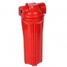 """Фильтр магистральный для горячей воды (непрозрачный красный корпус 10"""") 1/2"""" без картриджа"""